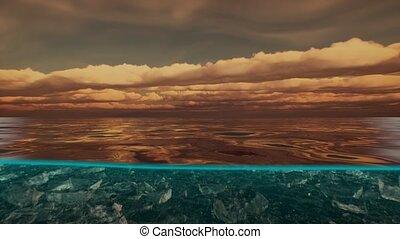 sur, fente, vue, eau, mer, antilles, nuages, sous