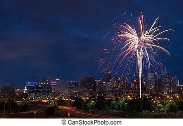 sur, feux artifice, denver, horizon, 4ème juillet