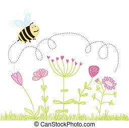 sur, fleurs, abeille