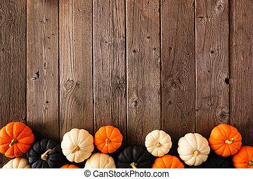 sur, fond, blanc, frontière, automne, noir, halloween, couleurs, citrouille, bois, rustique, orange