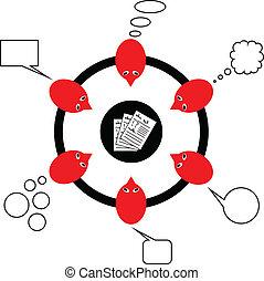 sur, gens, image, discutant, rapport, vecteur, équipe