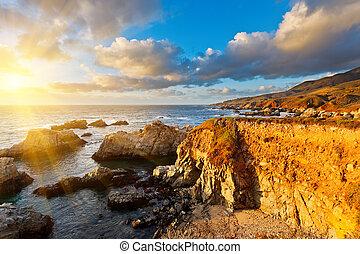 sur grande, oceano pacífico, costa, em, pôr do sol