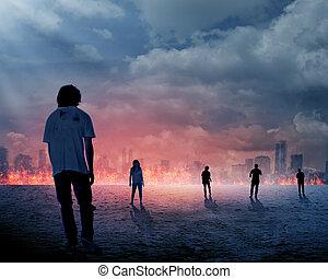 sur, groupe, fond, brulure, zombi, ville