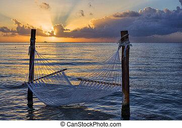 sur, hamac, coucher soleil, mer