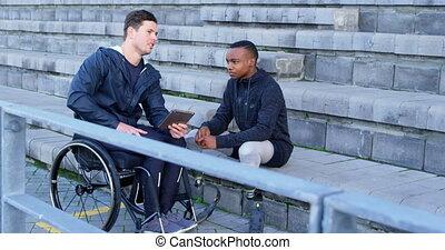 sur, handicapé, athlétisme, numérique, deux, tablette, discuter, 4k