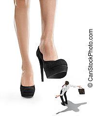 sur, heel., collage, grand patron, conceptuel, femme, sous, petit, dame, homme