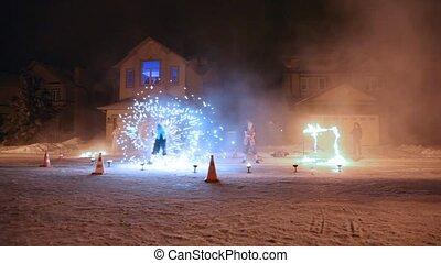 sur, hiver, exposition, brûler, maisons, rue, nuit