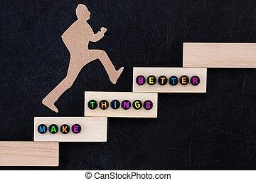 sur, homme, choses, étapes, concept., papier, image, reussite, mieux, escalade, arrière-plan noir, -, amélioration, faire, conceptuel