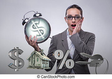 sur, hypothèque, femme affaires, suprised, élevé, taux, intérêt