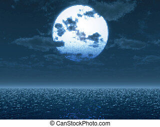 sur, illustration, lune, vecteur, sea., ful