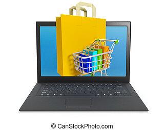 sur, illustration:, magasin, ligne, internet, achat, 3d
