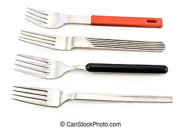sur, isolé, argent, quatre, arrière-plan., blanc, fourchettes