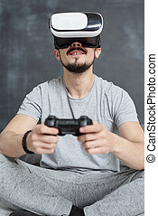 sur, jeu, vidéo, excité, virtuel