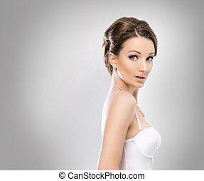 sur, jeune, mariée, fond, sexy, blanc