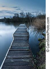 sur, lac, jetée, calme, éclairé par la lune, tranquille, ...