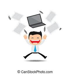 sur, lancer, papiers, quelque chose, homme affaires, heureux