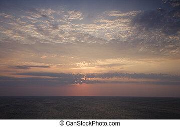sur, levers de soleil, ocean.