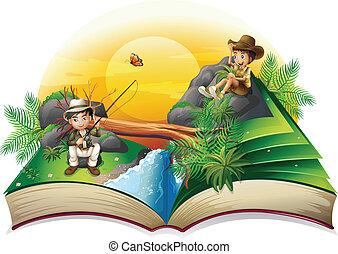 sur, livre, deux, explorateurs