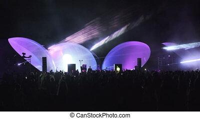 sur, lumières, foule, danse, briller, laser