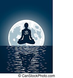 sur, lune, fond, vecteur, yoga