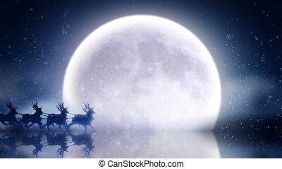 sur, lune, mouches, santa, renne
