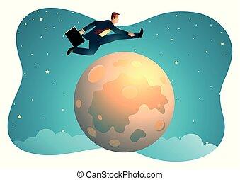 sur, lune, sauter, homme affaires