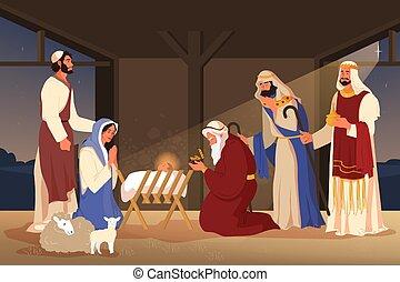 sur, magi, magi., jésus, trois, narratives, adoration, bible, trouvé