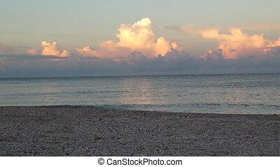sur, matin, nuages, golfe, vagues