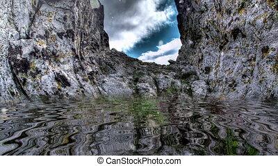 sur, montagne, neiger, eau, reflété, rocheux