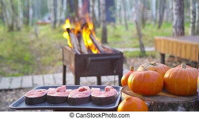 sur, morceaux, steaks., fire., frit, ouvert, saumon, ...