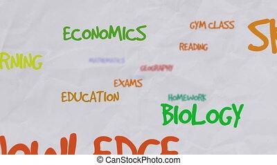 sur, mot, coloré, motivation, école, nuage