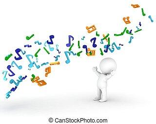 sur, musical, homme, couler, notes, 3d