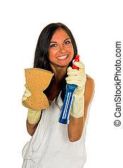 sur, nettoyage, femme foyer, ennuyé