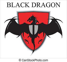 sur, noir, dragon, bouclier, rouges