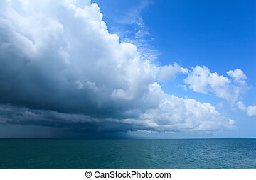 sur, nuages, mer