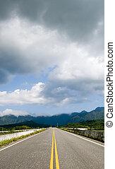 sur, nuages, route