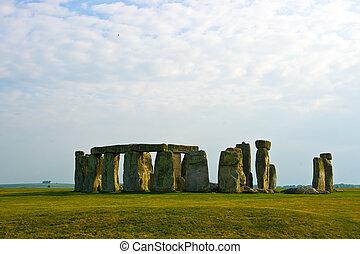 sur, nuages, stonehenge
