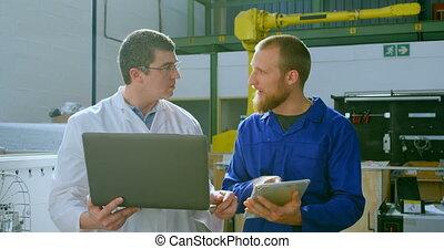 sur, numérique, robotique, tablette, ingénieurs, discuter,...