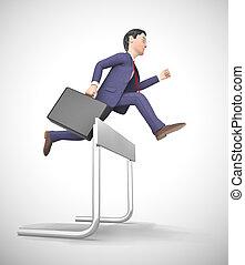 sur, obstacles, -, surmonter, illustration, depicted, sauter, obstacle, homme, 3d