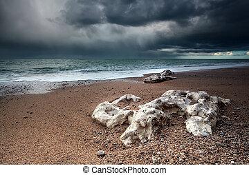 sur, océan, atlantique, orage, côte