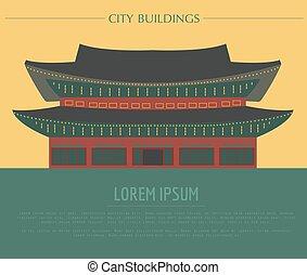sur, palace., korea., felicidad, template., ciudad de ...