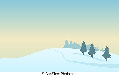 sur, paysage, neigeux, solstice, colline hiver