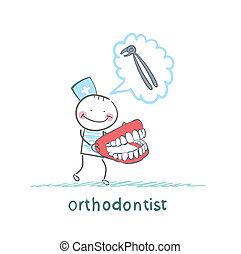 sur, pensée, mâchoire, outillage, mains, traction, orthodontiste, dents