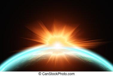 sur, planet., vue, levers de soleil, espace