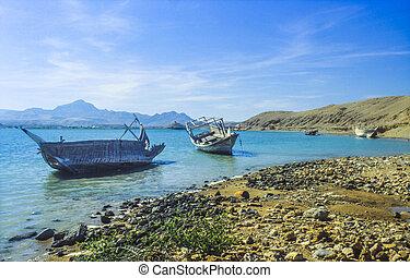 sur, podrido, dhau, barcos, árabe, playa, típico