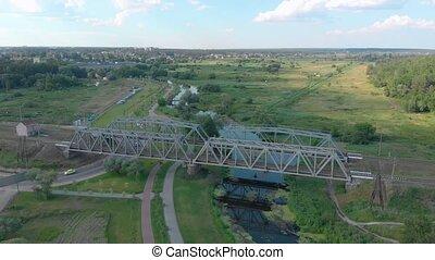 sur, pont, ferroviaire, rivière