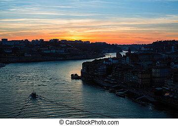 sur, portugal., porto, rivière, douro, crépuscule