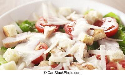 sur, préparé, closeup, poche, moule, salade, plat, césar
