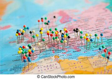 sur, pushpins, quelques-uns, europe, carte, afrique, tout