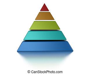 sur, pyramic, isolé, coupé, niveaux, 5, fond, blanc